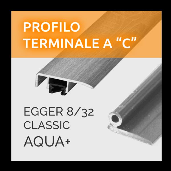 Profilo Terminale a C Paragradino Egger 8/32 Classic Aqua+