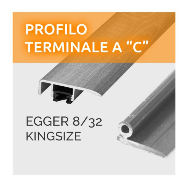 Profilo Terminale a C Paragradino Egger 8/32 Kingsize Made in Germany